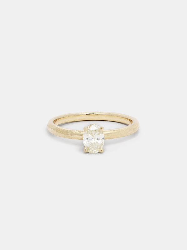 Shown: 0.5ct faint color antique diamond in 14k yellow gold with organic texture and signature matte finish.