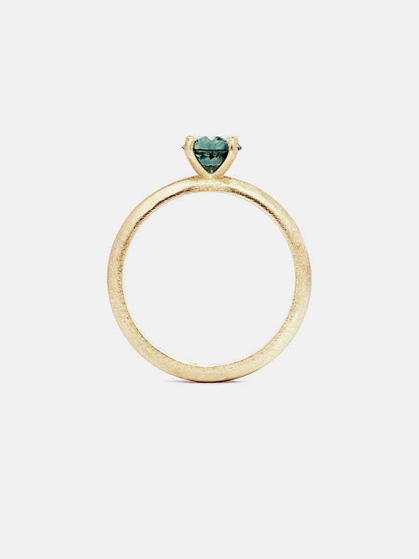 Marigold Solitaire- Sapphire with 0.75ct viridian Montana sapphire in 14k yellow gold with organic texture and signature matte finish.