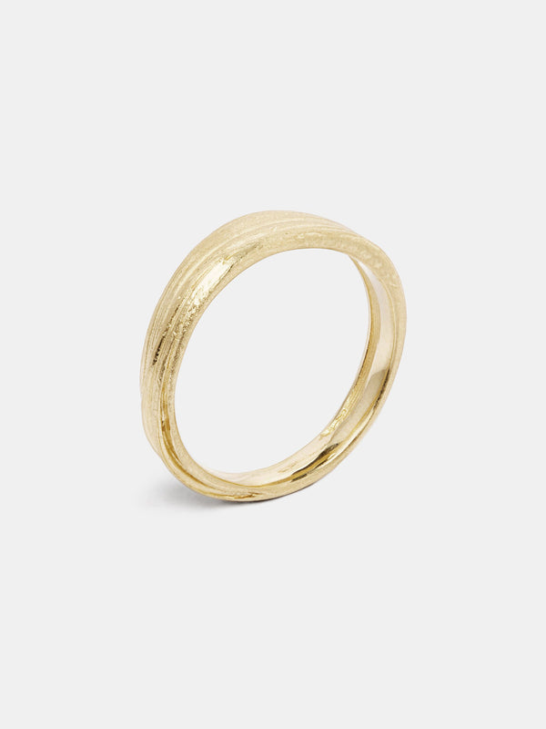 Mitsuro Band- Flat in 14k yellow gold with signature matte finish.