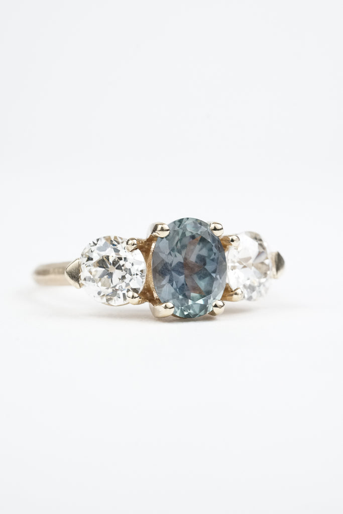 Sky blueMontana sapphire oval trillum engagement ring by Oakland based Kate Ellen