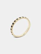 Moonvine Pave Eternity Band- Black Diamond with 1.5mm black diamonds in 14k yellow gold and signature matte finish.