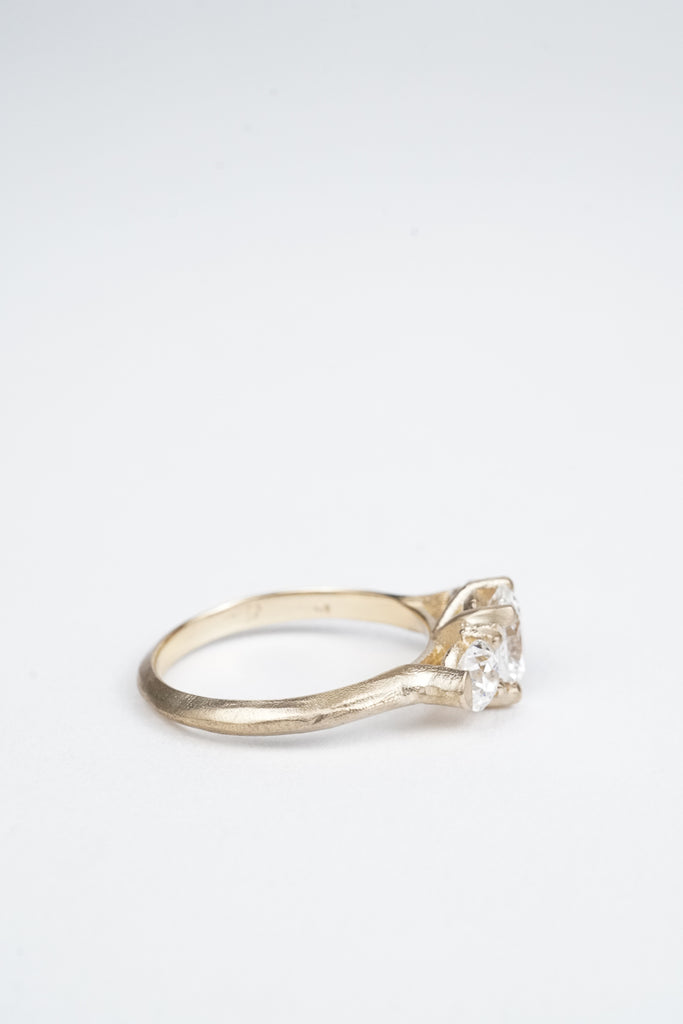 Oval diamond trillium engagement ring by Oakland based Kate Ellen