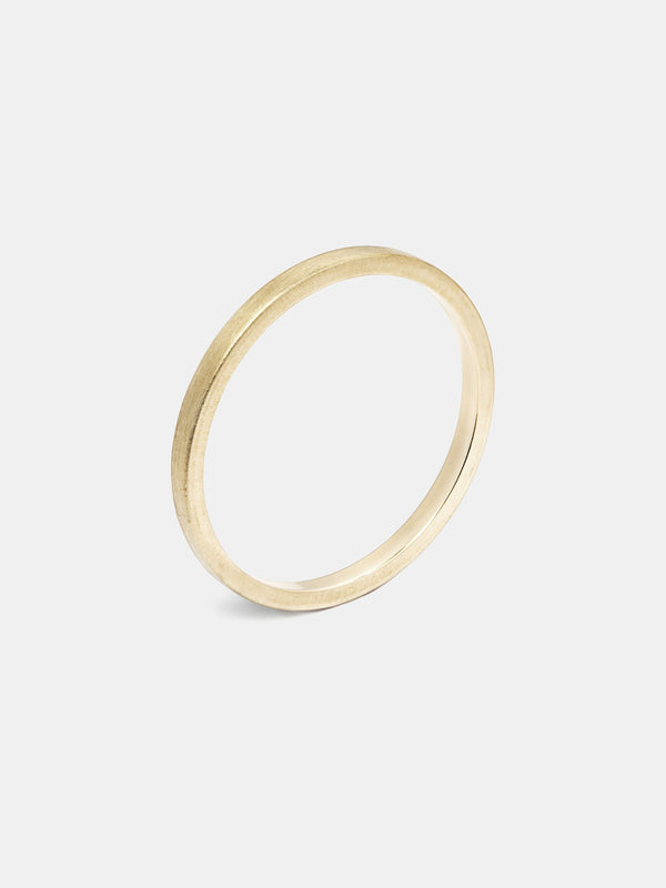 Pipecut Band- 1.5mm in 14k yellow gold with smooth texture and signature matte finish.