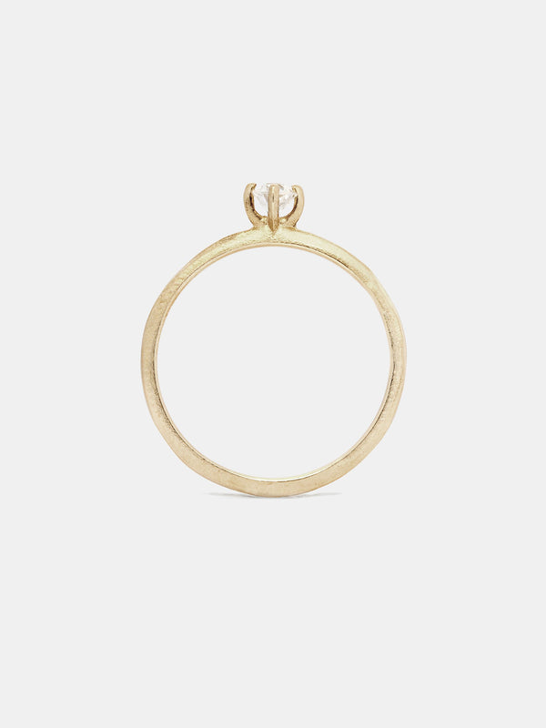 Pyxis ring with 3mm antique diamond in 14k yellow gold and organic texture with signature matte finish.