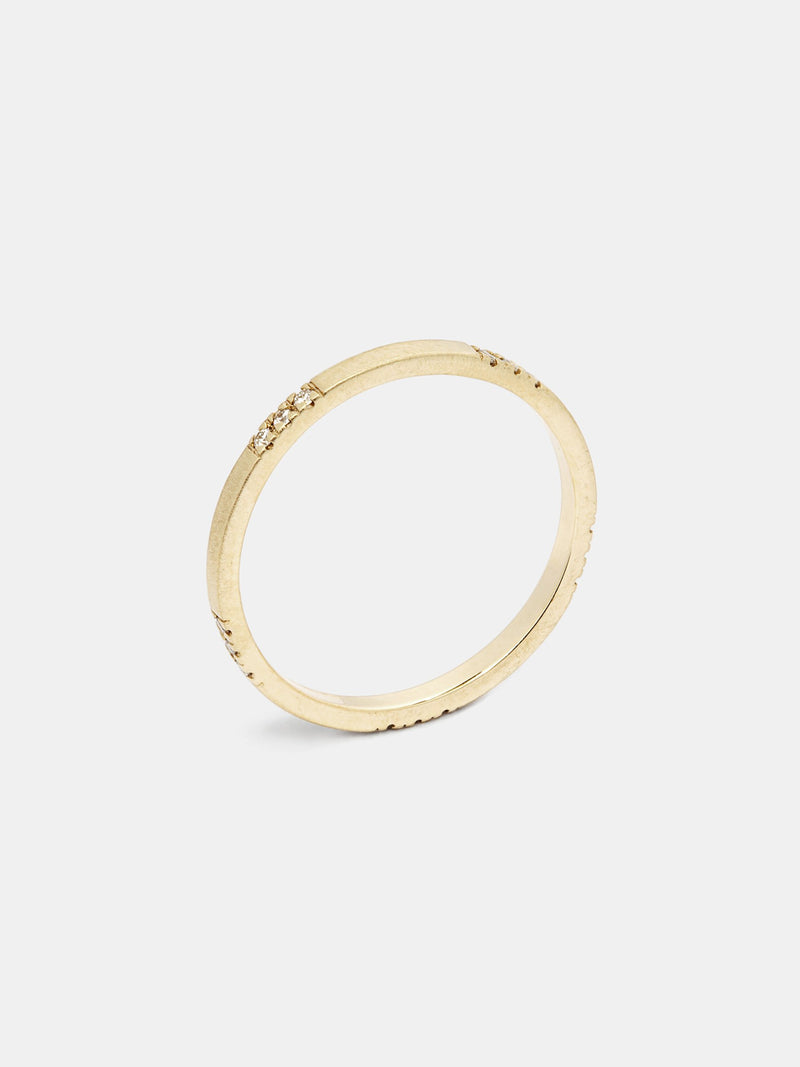 Rue Band with 1mm recycled diamonds in 14k yellow gold and smooth texture with signature matte finish.
