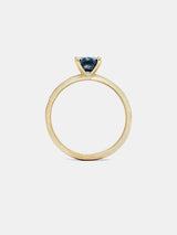 Sage Cushion Solitaire- Sapphire with 1ct teal Montana sapphire in 14k yellow gold with organic texture and signature matte finish.