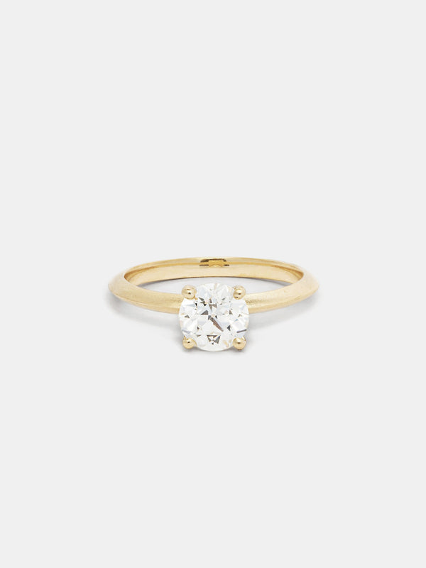 Shown: 1ct near colorless antique diamond in 14k yellow gold with organic texture and signature matte finish.