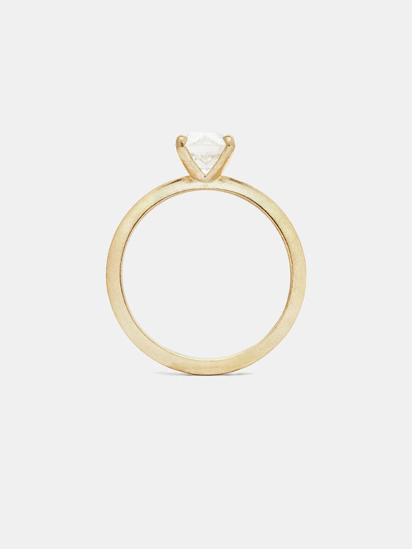 Sage Solitaire 1ct near colorless antique diamond in 14k yellow gold with organic texture and signature matte finish.