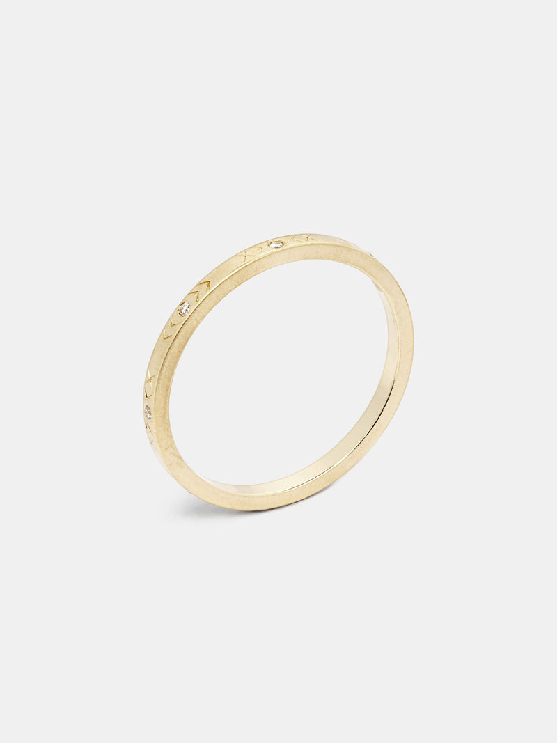 Thallo Band with 1mm diamonds in 14k yellow gold and signature matte finish.