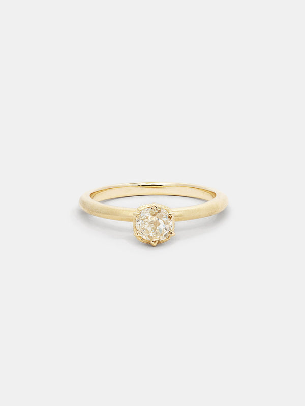 Shown: 0.5ct faint color antique diamond in 14k yellow gold with smooth texture and signature matte finish.