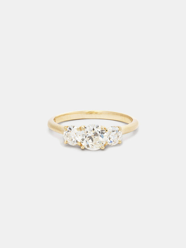 Shown: 0.75ct center with 0.25ct sides, near colorless antique diamonds in 14k yellow gold with smooth texture and signature matte finish.