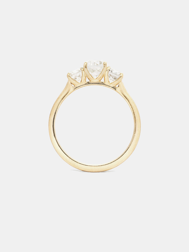 Vega Three Stone Diamond Ring with 0.75ct center with 0.25ct sides, near colorless antique diamonds in 14k yellow gold with smooth texture and signature matte finish.