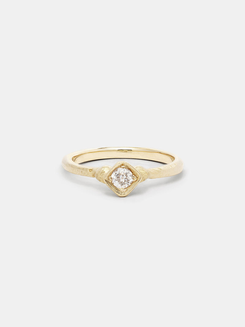 Shown: 0.25ct near colorless antique diamond in 14k yellow gold with organic texture and signature matte finish.