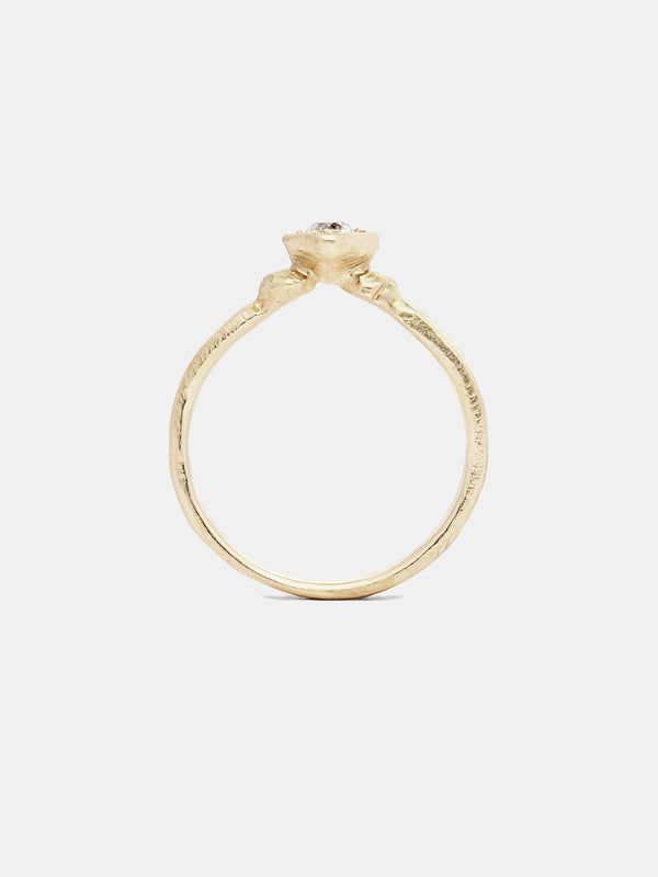 Venus Solitaire with 0.25ct near colorless antique diamond in 14k yellow gold with organic texture and signature matte finish.