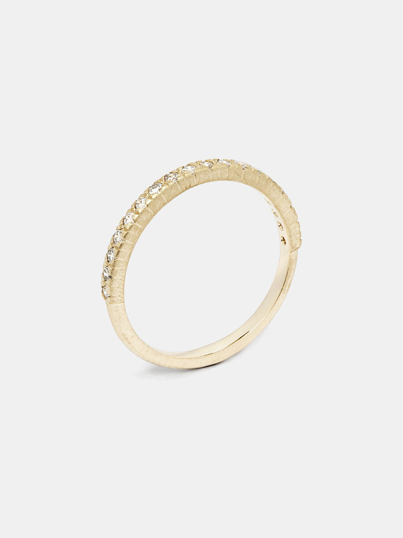 Viburnum Pave Half Eternity Band- 1.5mm Diamonds in 14k yellow gold with organic texture and signature matte finish.