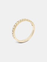 Viburnum Pave Half Eternity Band- 2mm Diamonds in 14k yellow gold with organic texture and signature matte finish.
