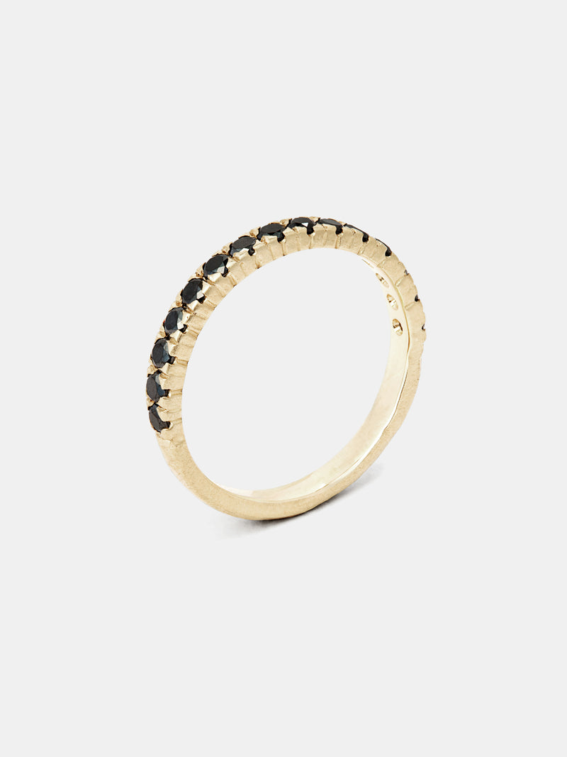 Viburnum Pavé Half Eternity Band - 2mm Black Diamonds