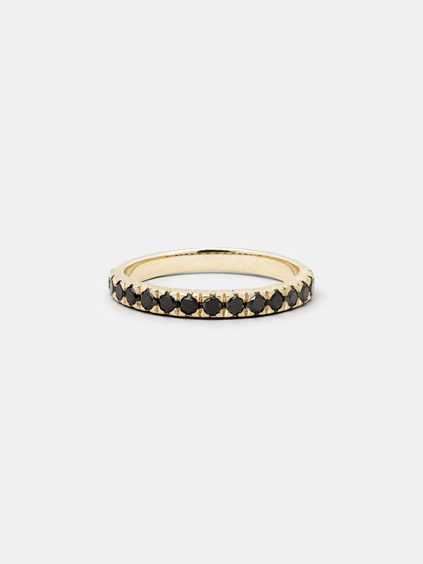 Shown: Black 2mm diamonds set in 14k yellow gold with organic texture and signature matte finish.