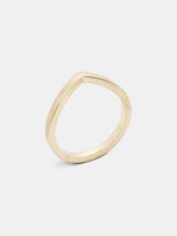 Vinca Arching Band in 14k yellow gold with smooth texture and signature matte finish.