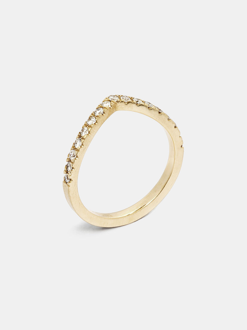 Vinca Arching Pave Half Eternity Band with 1.6mm recycled diamonds in 14k yellow gold with smooth texture and signature matte finish.