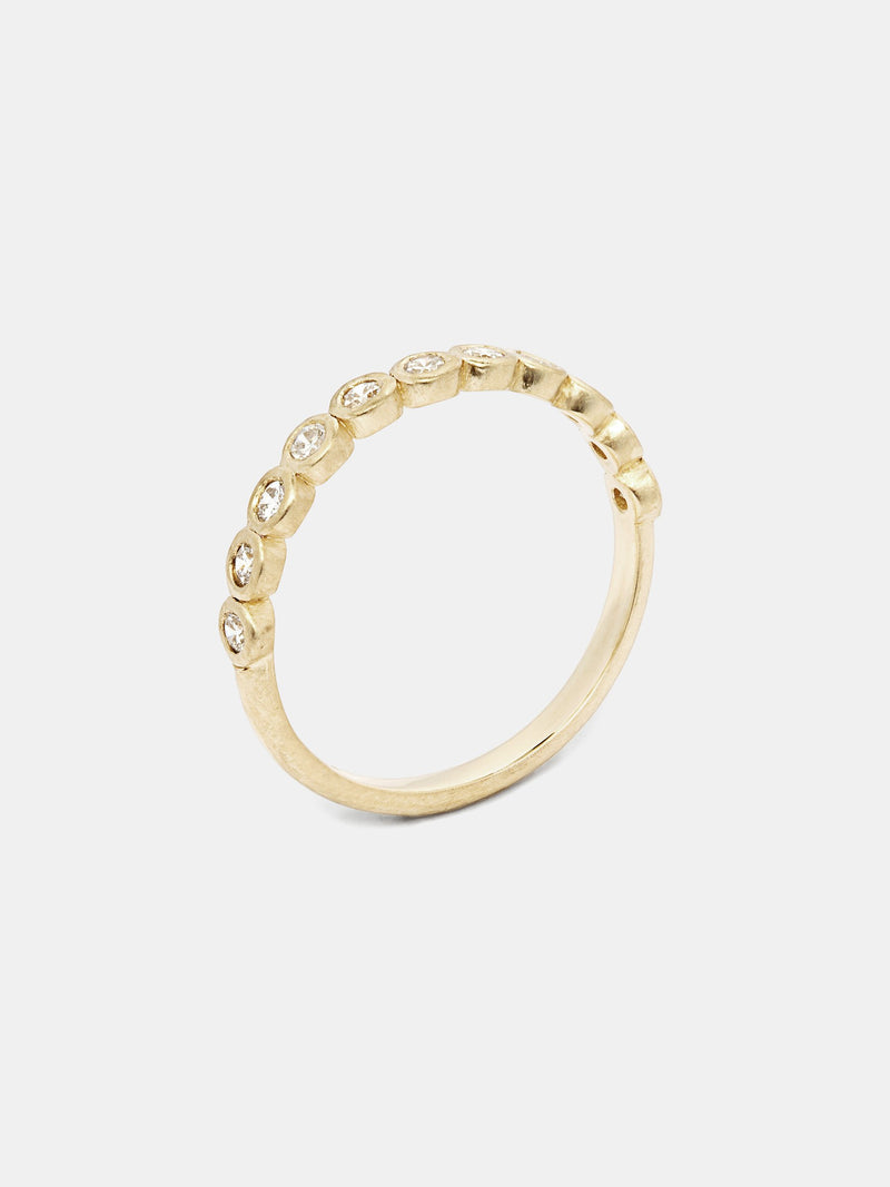 Willow Half- Eternity Band with 2mm recycled diamonds in 14k yellow gold with smooth texture and signature matte finish.