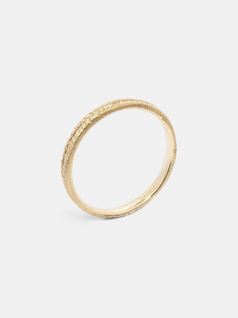 Wisteria Band- 2mm in 14k yellow gold with signature matte finish.