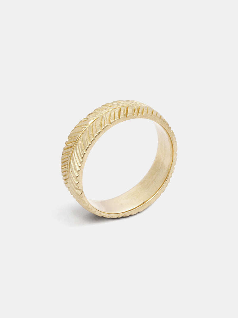 Wisteria Band- 6mm in 14k yellow gold with signature matte finish.