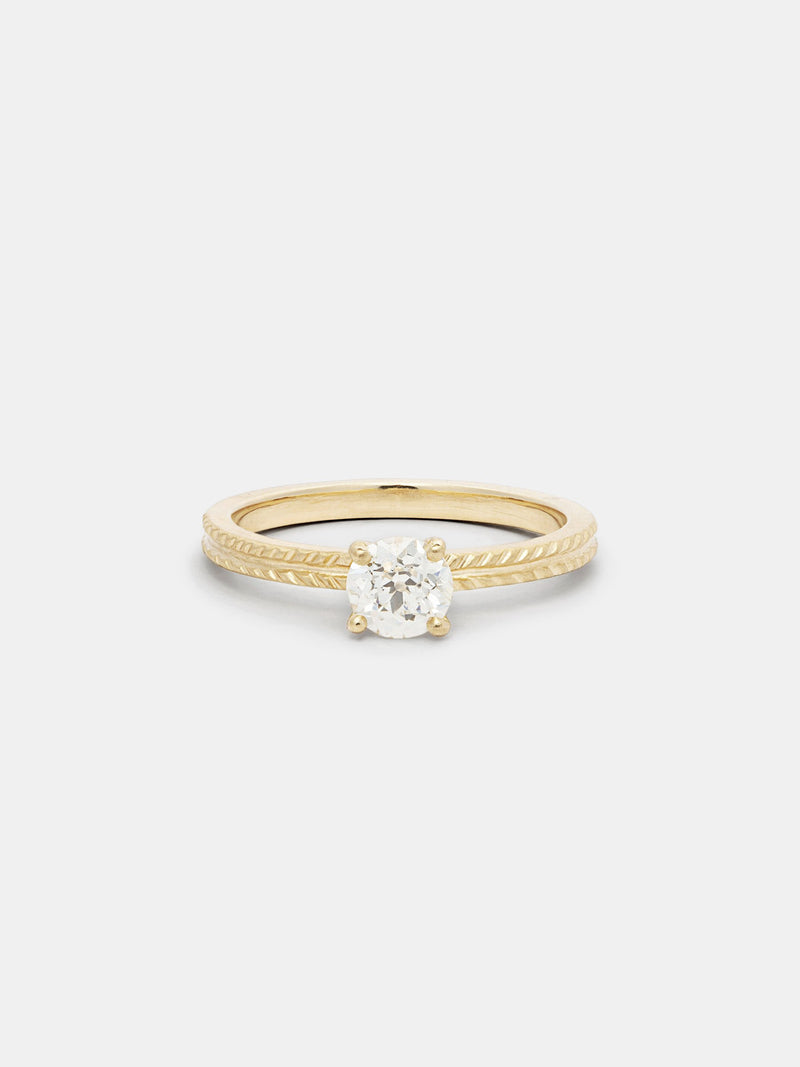 Shown: 0.75ct near colorless antique diamond in 14k yellow gold with signature matte finish.