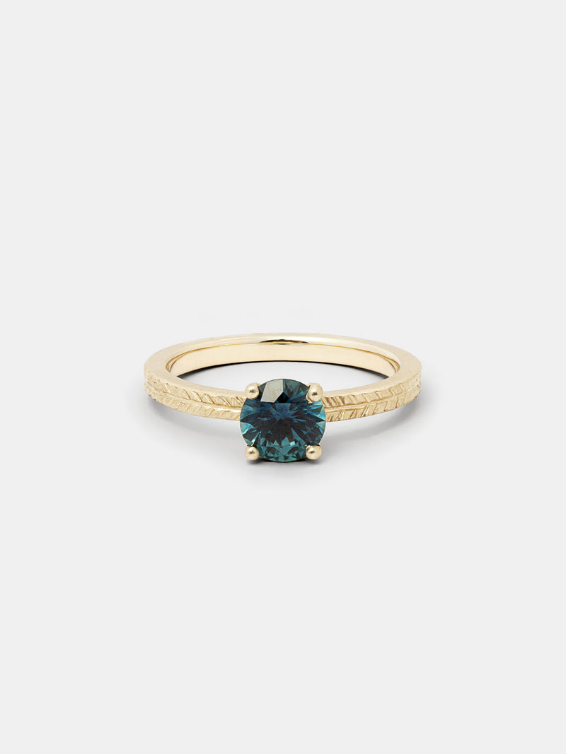 Shown: 1ct teal Montana sapphire in 14k yellow gold with signature matte finish.