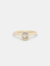 Shown: 0.5ct colorless recycled diamond in 14k yellow gold with organic texture and signature matte finish.