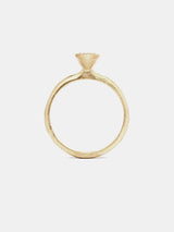 Yarrow Oval Solitaire with 0.5ct colorless recycled diamond in 14k yellow gold with organic texture and signature matte finish.