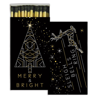 Merry & Bright Gold Foil Match Box