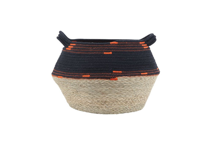Hand-Woven Natural Seagrass & Cotton Rope Basket w/ Handles