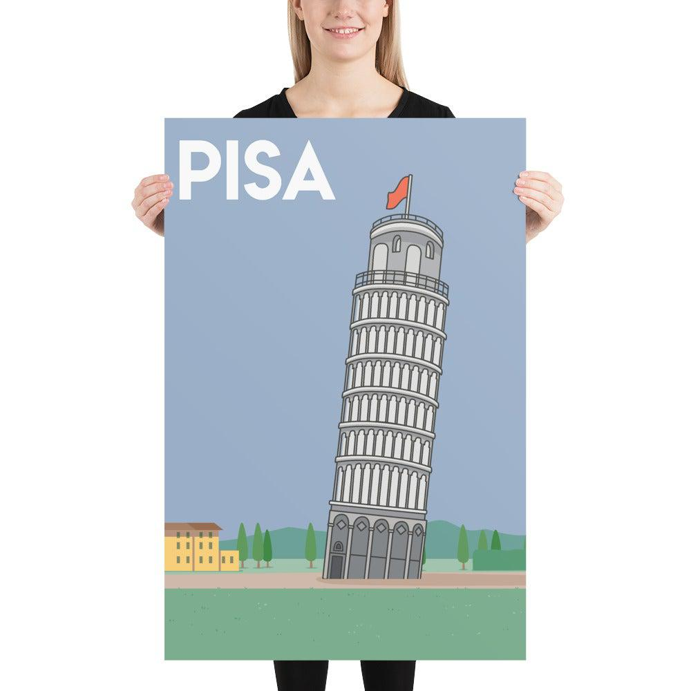 Leaning Tower of Pisa poster-Posters-Flash of Culture