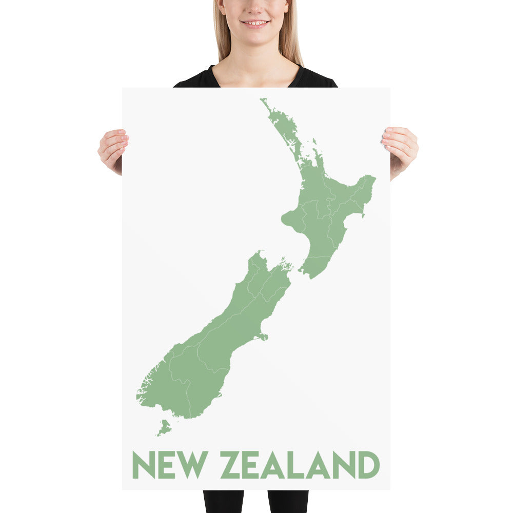 Map of New Zealand Poster-Posters-Flash of Culture