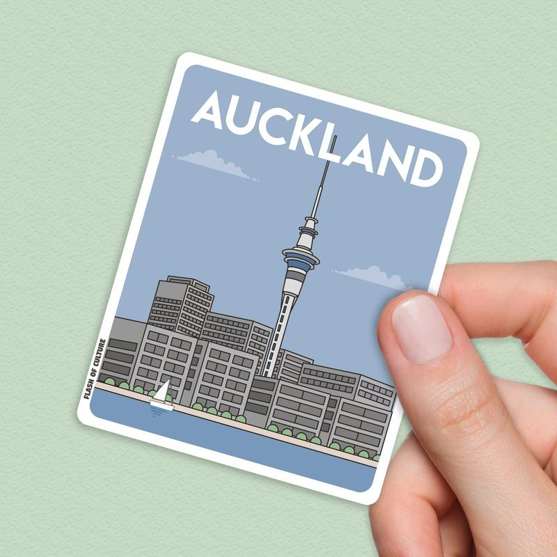 Auckland New Zealand sticker, New Zealand Stickers, Auckland New Zealand-Stickers-Flash of Culture™