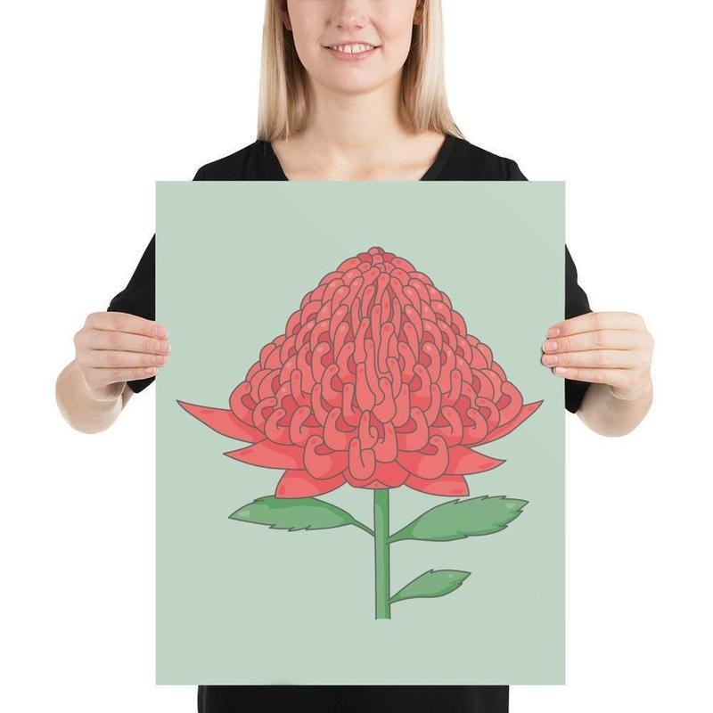 Australian Waratah Poster Art-Posters-Flash of Culture™