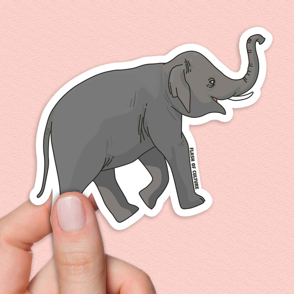 Elephant sticker, Cute elephants-Stickers-Flash of Culture™
