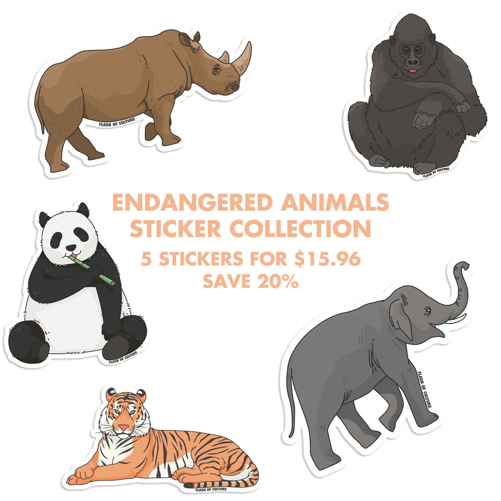 Endangered Animals Bundle - Get 5 stickers and SAVE 20%-Stickers-Flash of Culture™