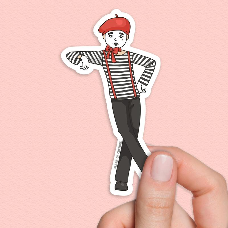 French Mime sticker, mime performer sticker-Stickers-Flash of Culture™