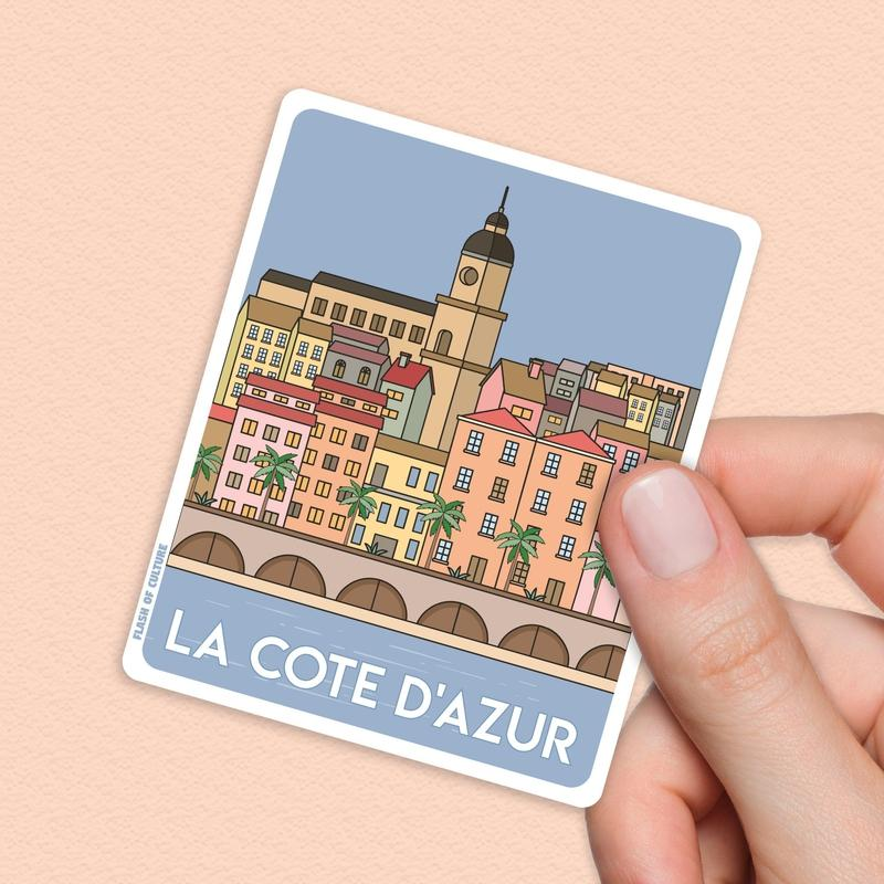 French Riviera Travel Sticker, French stickers-Stickers-Flash of Culture™