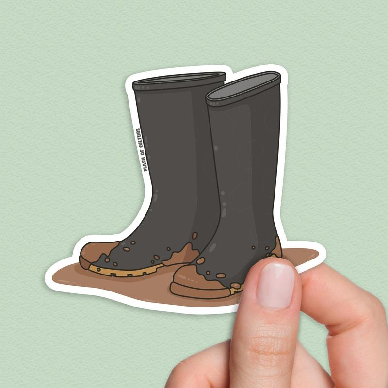 Gumboots sticker, Wellingtons Stickers, Galoshes Sticker-Stickers-Flash of Culture™