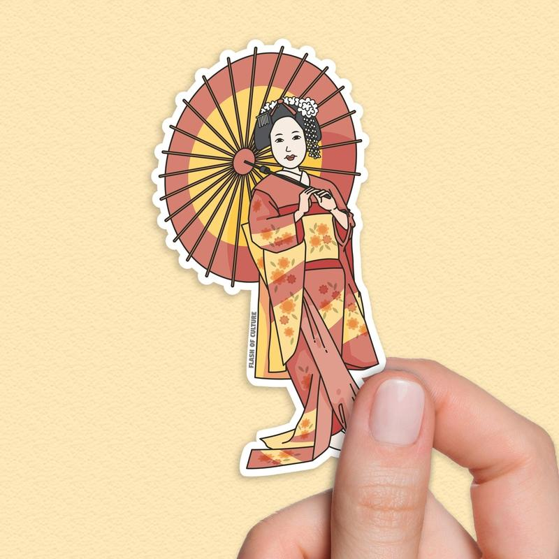 Japanese Geisha sticker-Stickers-Flash of Culture™