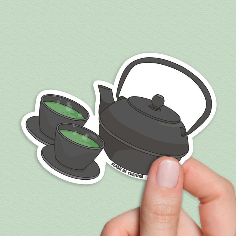 Japanese Tea, Green Tea Sticker, Green Tea Art, Tea Stickers-Stickers-Flash of Culture™