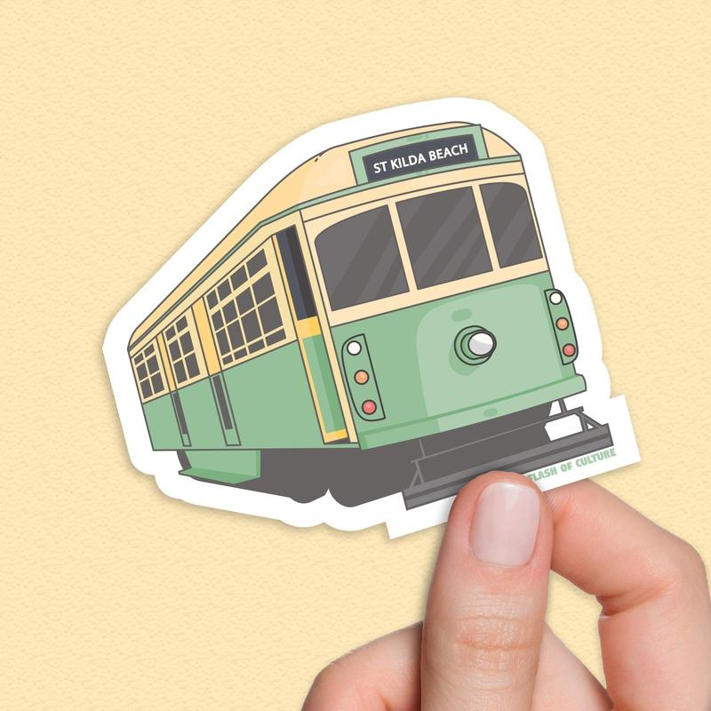 Melbourne Tram sticker, St Kilda Beach Sticker-Stickers-Flash of Culture™