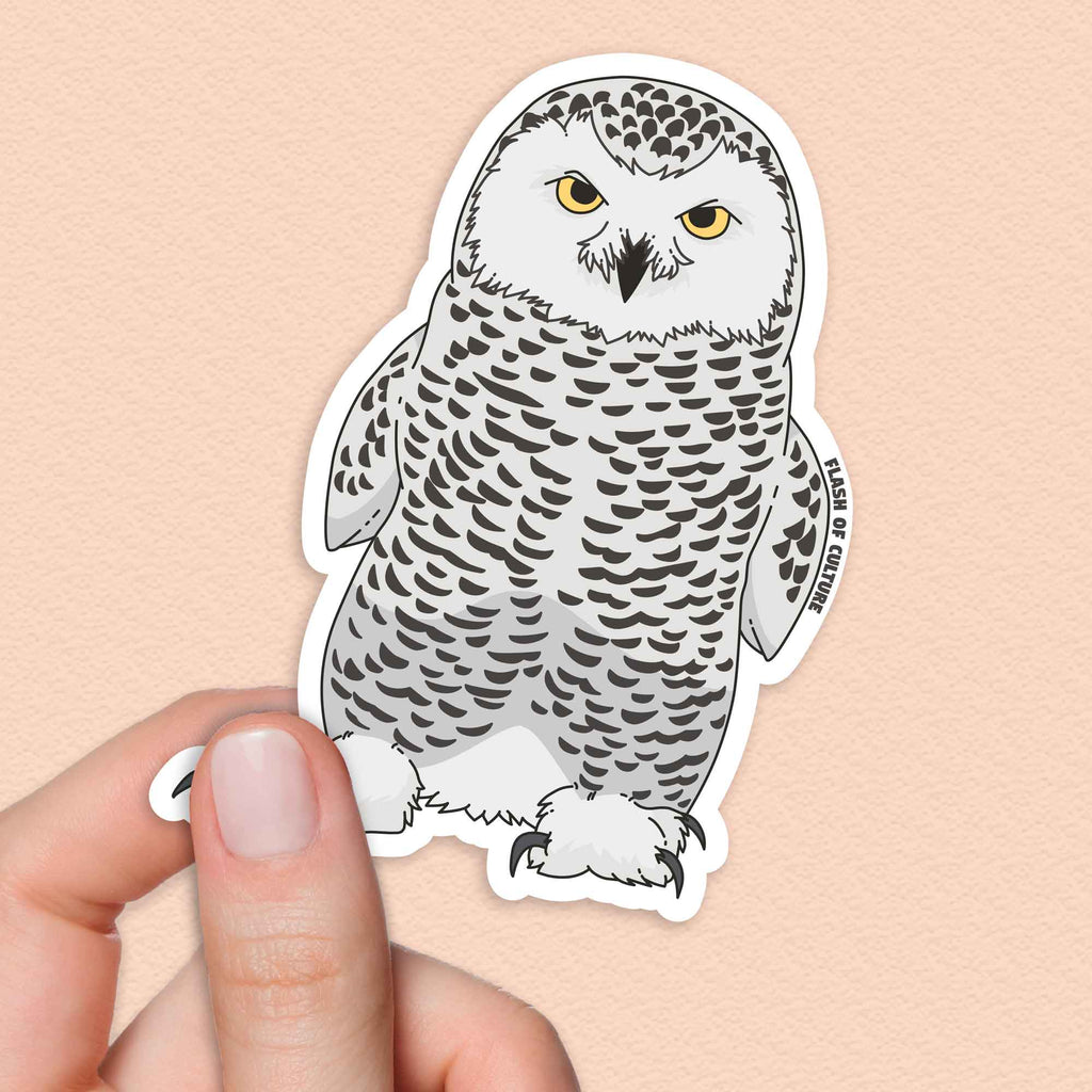 Owl Sticker, Snowy Owl Sticker, White Owl Sticker-Stickers-Flash of Culture™