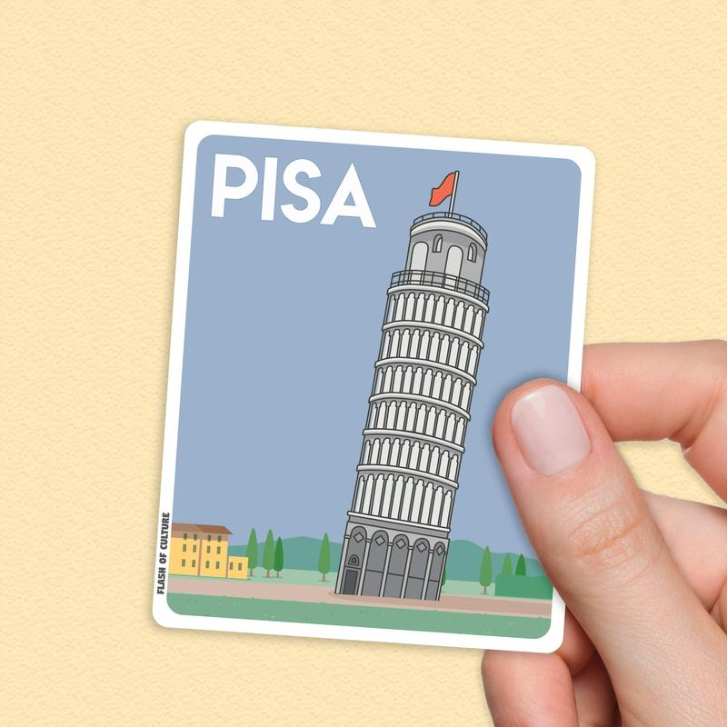 Pisa Italy Sticker, Pisa stickers, Pisa Italy-Stickers-Flash of Culture™