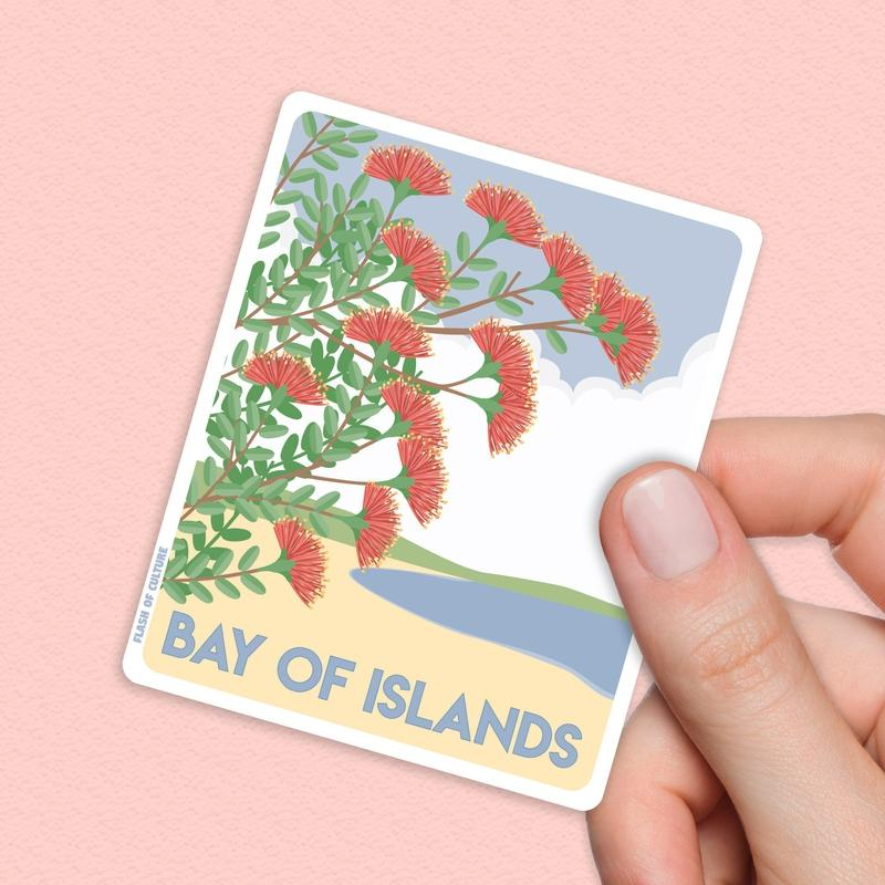 Pohutukawa Bay of Islands New Zealand Sticker - Kiwiana stickers-Stickers-Flash of Culture™