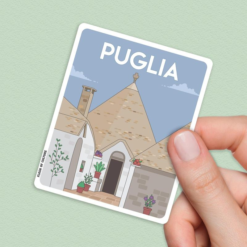 Puglia Italy Sticker, Puglia stickers, Italian travel stickers-Stickers-Flash of Culture™