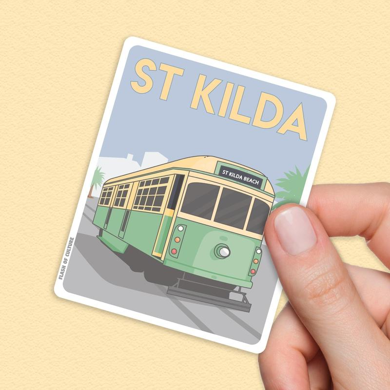 St Kilda Beach Travel Sticker - Melbourne Tram Stickers-Stickers-Flash of Culture™